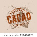 chocolate cocoa beans with... | Shutterstock .eps vector #712410226