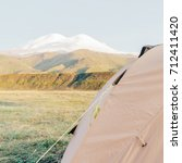 camping tent on background of... | Shutterstock . vector #712411420