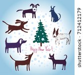 2018 happy new year greeting... | Shutterstock .eps vector #712412179