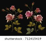 embroidery roses  classical... | Shutterstock .eps vector #712415419