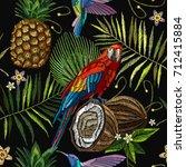 embroidery parrot  humming bird ... | Shutterstock .eps vector #712415884