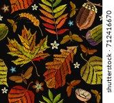 embroidery autumn seamless...   Shutterstock .eps vector #712416670