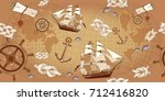old map seamless pattern. sea... | Shutterstock .eps vector #712416820
