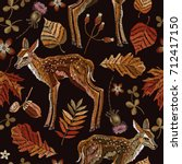 embroidery deer  autumn... | Shutterstock .eps vector #712417150
