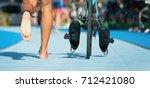 triathlon bike the transition...   Shutterstock . vector #712421080