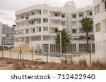 Small photo of Sant Antony de Portmany, Ibiza, Balearic Islands - August 29, 2014 : View of a condo in Sant Antony de Portmany