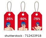 vector sale tags with woman... | Shutterstock .eps vector #712423918