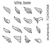 wing icon set in thin line style | Shutterstock .eps vector #712424368