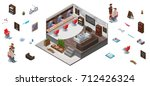 interior constructor with 3d... | Shutterstock .eps vector #712426324