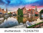bruges at dramatic sunset ... | Shutterstock . vector #712426753