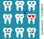 set of tooth emoji vector set | Shutterstock .eps vector #712428070