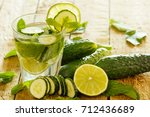 refreshing drink with cucumber  ... | Shutterstock . vector #712436689