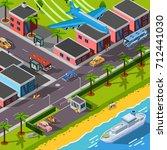 isometric top view transport... | Shutterstock . vector #712441030