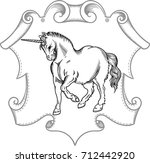 drawing of the unicorn with a... | Shutterstock .eps vector #712442920