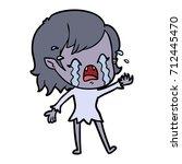 cartoon crying vampire girl   Shutterstock .eps vector #712445470