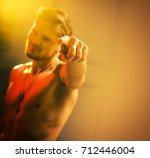 blurred portrait of a handsome  ... | Shutterstock . vector #712446004