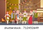 group of people drink beer in... | Shutterstock .eps vector #712452649