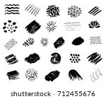 set of black paint  ink  grunge ... | Shutterstock .eps vector #712455676