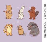 ant eater  platypus  hare ... | Shutterstock .eps vector #712464340