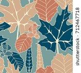 seamless vector colorful autumn ... | Shutterstock .eps vector #712467718