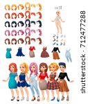 dresses and hairstyles game.... | Shutterstock .eps vector #712477288