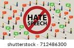 stop hate speech conflict... | Shutterstock .eps vector #712486300