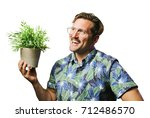 funny retro man with mustache... | Shutterstock . vector #712486570