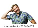 funny retro man with mustache... | Shutterstock . vector #712486594