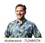 funny retro man with mustache... | Shutterstock . vector #712489276