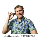 funny retro man with mustache... | Shutterstock . vector #712489288