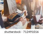 retail  credit card payment... | Shutterstock . vector #712491016