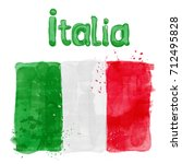 watercolor flag of italy in a...   Shutterstock . vector #712495828