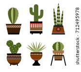 six cactuses in pots with... | Shutterstock .eps vector #712495978