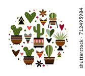 illustration of cactus in a... | Shutterstock .eps vector #712495984