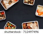 healthy restaurant food... | Shutterstock . vector #712497496