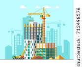 construction of residential... | Shutterstock .eps vector #712498576