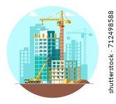 construction of residential... | Shutterstock .eps vector #712498588