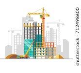 construction of residential... | Shutterstock .eps vector #712498600