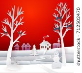 marry christmas paper banner... | Shutterstock .eps vector #712502470