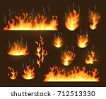 fire flames icons set isolated... | Shutterstock .eps vector #712513330