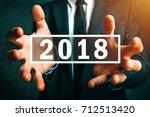 happy new 2018 business year ... | Shutterstock . vector #712513420