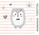 cute hedgehog cartoon vector...   Shutterstock .eps vector #712517116