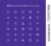 security and safety line icons... | Shutterstock .eps vector #712517404