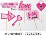 set of printable bachelorette... | Shutterstock .eps vector #712517860