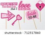 set of printable bachelorette... | Shutterstock .eps vector #712517860