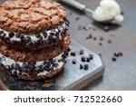 homemade vanilla ice cream... | Shutterstock . vector #712522660