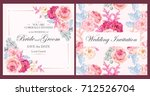 vintage wedding invitation | Shutterstock .eps vector #712526704