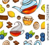 sweets and tea seamless pattern....   Shutterstock .eps vector #712532398