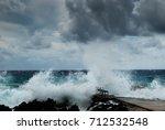 hurricane irma as she passes... | Shutterstock . vector #712532548
