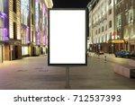 blank street billboard at night ...   Shutterstock . vector #712537393